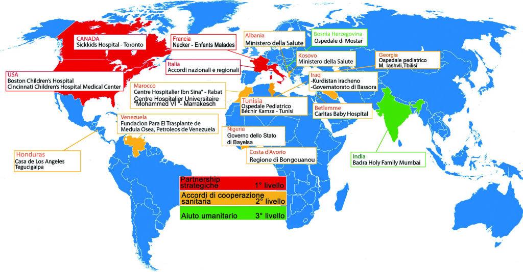Planisfero collaborazioni internazionali Istituto Gaslini
