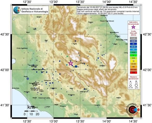 Scossa di terremoto 3.9 nel Centro-Italia: epicentro vicino L'Aquila